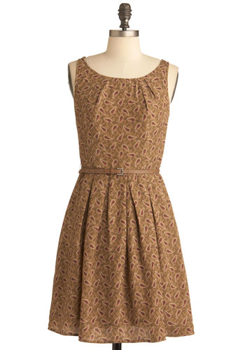 Quaint Seen Nothin' Yet Dress - Mid-length, Brown, Orange, Black, Paisley, Pleats, Pockets, A-line, Sleeveless, Belted