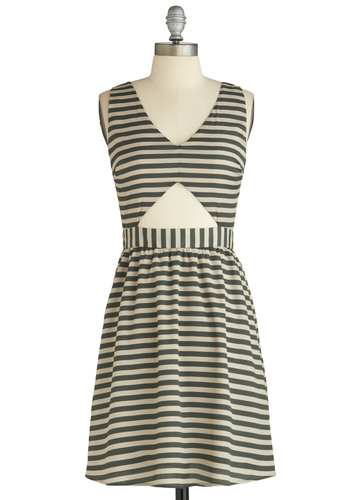 Sample 1928 - Green, Tan / Cream, Stripes, Cutout, Party, A-line, Sleeveless
