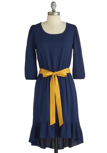 Sample 1921 - Blue, Yellow, Solid, Ruffles, Party, Long Sleeve, Belted, High-Low Hem