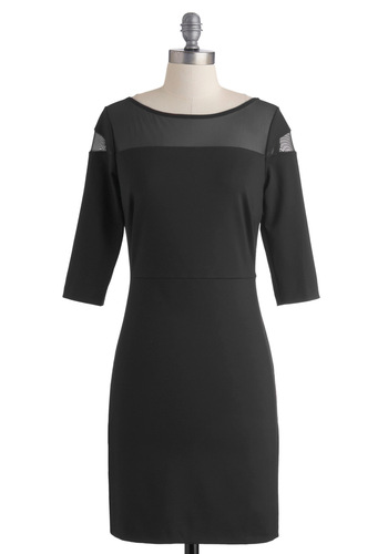 Goes to Showbiz Dress in Noir by BB Dakota - Black, Solid, Cutout, Party, Shift, 3/4 Sleeve, Fall, Mid-length