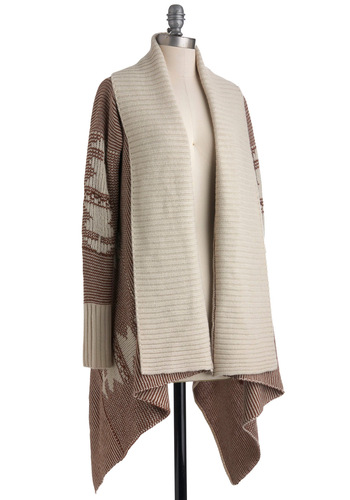 Coffee Connoisseur Cardigan by BB Dakota - Knitted, Casual, Long Sleeve, Brown, Tan / Cream, Fall, Mid-length, Rustic
