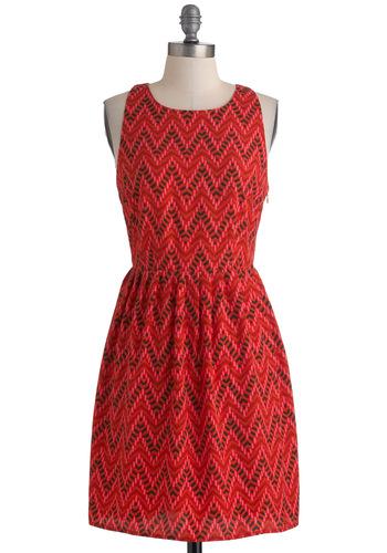 Beach Retreat Dress by Jack by BB Dakota - Mid-length, Red, Pink, Black, Print, Cutout, Party, Sleeveless, Tis the Season Sale