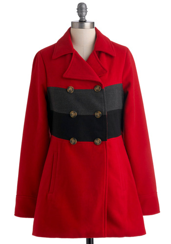 North Woods Coat by Jack by BB Dakota - Red, Black, Grey, Buttons, Pockets, Casual, Long Sleeve, Long, 3, Double Breasted
