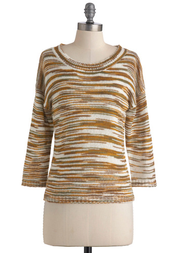 Swell and Good Sweater by Tulle Clothing - Mid-length, Brown, White, Knitted, Casual, Yellow, 3/4 Sleeve, Fall, Tis the Season Sale