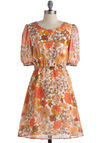 Retro Happy Day Dress by Tulle Clothing - Mid-length, Orange, Brown, White, Floral, Casual, A-line, Short Sleeves, Fall