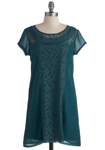 Smack Dab in the Midnight Dress by Tulle Clothing - Mid-length, Green, Solid, Lace, Shift, Short Sleeves, Sheer, 20s