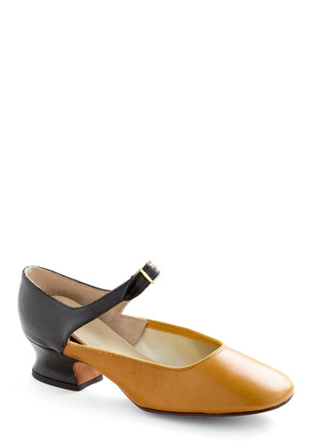 Vintage Reserve Amber Heel - Yellow, 60s, Low, Mary Jane, Vintage Reserve, Black, Work, Mod