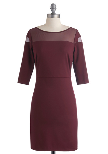 Goes to Showbiz Dress in Merlot by BB Dakota - Red, Solid, Cutout, Party, Sheath / Shift, 3/4 Sleeve, Fall, Sheer, Mid-length