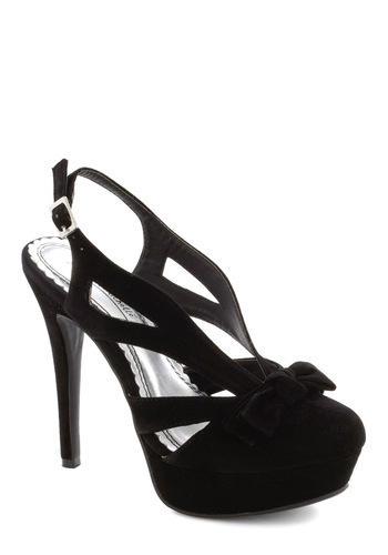 Stiletto My Stars Heel - Black, Solid, Bows, High, Slingback, Cutout, Party, Girls Night Out, Cocktail, Holiday Party, Platform, Strappy