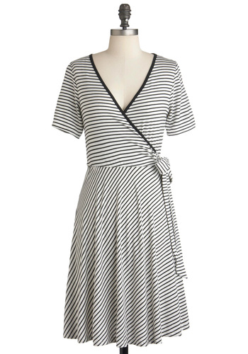 Monochrome Town Pride Dress - Mid-length, Black, White, Stripes, Wrap, Short Sleeves, V Neck