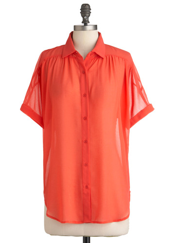 Two to Mango Top - Orange, Solid, Pockets, Short Sleeves, Mid-length, Sheer, Coral, Button Down, Collared