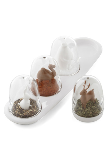 Snowy Seasoning Spice Shaker Set - Quirky, Eco-Friendly, White, Brown, Solid