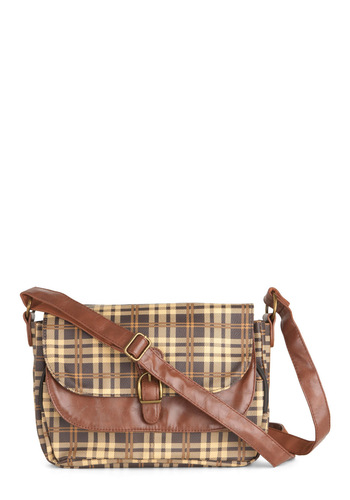 Plaid it Cool Handbag - Multi, Brown, Tan / Cream, Print, Casual, Steampunk, Faux Leather