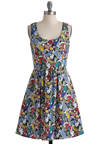 Good Enough to Strut Dress - Multi, Novelty Print, Casual, A-line, Tank top (2 thick straps), Summer, Multi, Pockets, Mid-length, Cotton, Best Seller, Fit & Flare, Quirky, Scoop