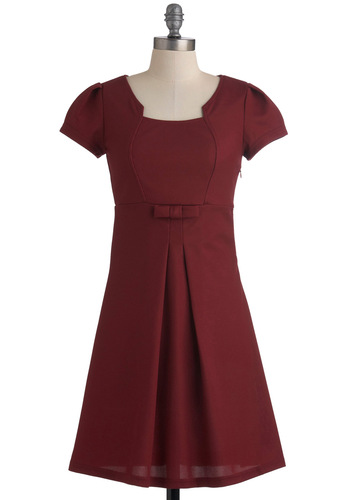 Office Orientation Dress in Burgundy - Red, Solid, Bows, Pleats, A-line, Mid-length, Work, Vintage Inspired, Empire, Short Sleeves