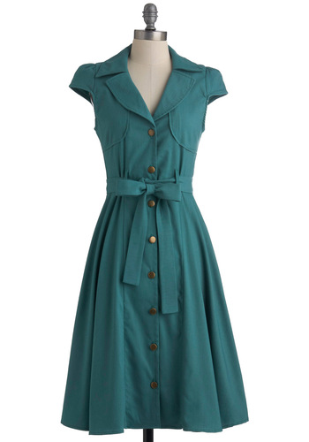 Crepe Shop Dress - Long, Green, Solid, Buttons, Work, Vintage Inspired, A-line, Cap Sleeves, Belted, Button Down, Collared, Fit & Flare