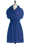 Sci Fi Heroine Dress in Cobalt - Short, Blue, Solid, Buttons, Exposed zipper, Pockets, Casual, A-line, Short Sleeves, Cowl