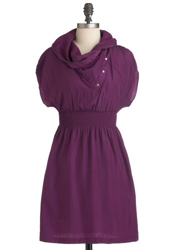 Sci Fi Heroine Dress in Plum - Short, Purple, Solid, Buttons, Exposed zipper, Pockets, Casual, A-line, Short Sleeves