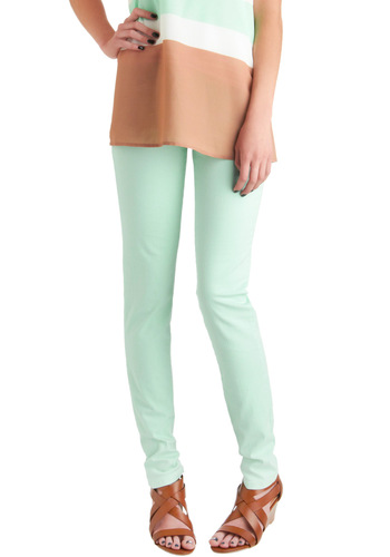 Spring in Every Season Jeans in Mint - Green, Solid, Pockets, Casual, Skinny, Long, Pastel, Denim, Mint, Variation, Cotton