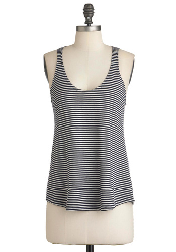 Feeling Fine Lines Top - Mid-length, Blue, White, Stripes, Casual, Racerback, Summer