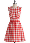 Too Much Fun Dress in Cookout Crimson by Emily and Fin - Mid-length, Red, White, Checkered / Gingham, Pockets, Vintage Inspired, Sleeveless, Summer, Fit & Flare, Cotton, International Designer, Casual, Pinup