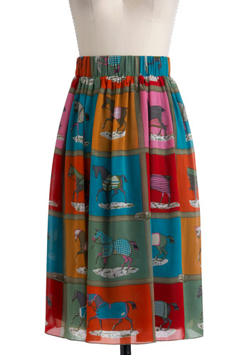 Best Dressage List Skirt - Multi, Red, Orange, Yellow, Blue, Pink, Print with Animals, A-line, Long