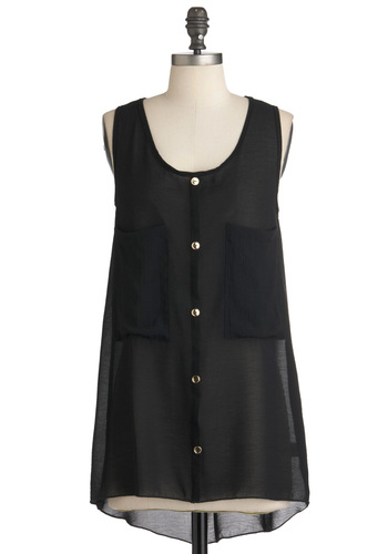 Back for Noir Top - Black, Solid, Buttons, Casual, Pockets, Urban, Tank top (2 thick straps), High-Low Hem, Long, Sheer, Button Down, Steampunk, Scoop, Summer