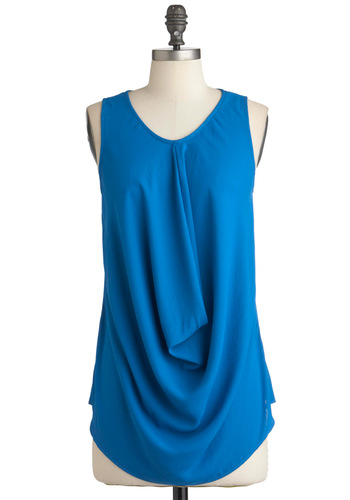 Things Are Taking Drape Top - Blue, Solid, Sleeveless, Mid-length, Girls Night Out, Minimal