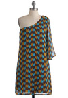 Things Are Pointing Up Dress - Mid-length, Multi, Yellow, Blue, Print, Sheath / Shift, One Shoulder, Sheer