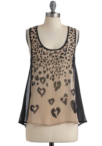 Heart Skipped a Leap Top - Tan, Animal Print, Cutout, Casual, Tank top (2 thick straps), Mid-length, Black, Girls Night Out, Sheer