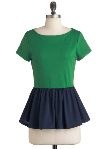 New Girl Courage Top in Colorblock - Green, Blue, Casual, Short Sleeves, Peplum, Mid-length, Boat