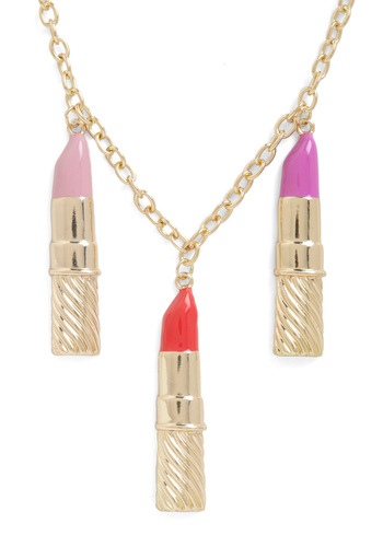 Lipstick with Me Necklace - Gold, Red, Pink, Solid, Girls Night Out, Quirky, Tis the Season Sale
