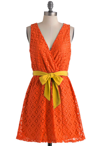 Stylist's Best Palette in Orange - Orange, A-line, Sleeveless, Belted, Yellow, Lace, Short, Daytime Party, Fit & Flare, V Neck