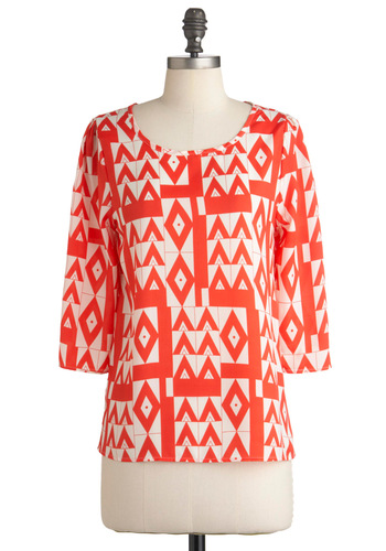 Any Day of the Peak Top - White, Casual, 3/4 Sleeve, Mid-length, Print