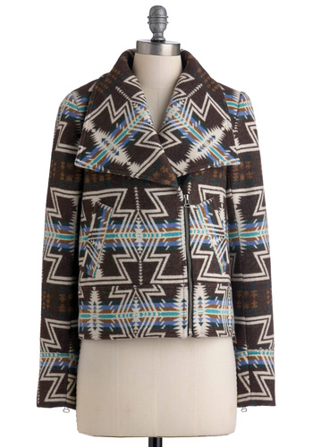 Spark Slope Jacket by Dolce Vita - Green, Blue, White, Pockets, Long Sleeve, Multi, Print, Fall, 2, Mid-length, Rustic