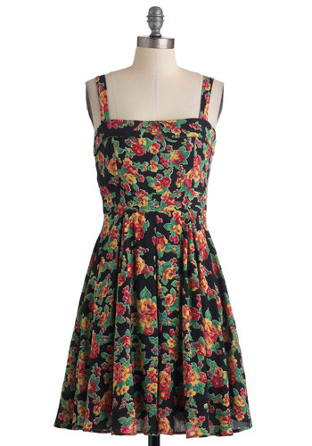 Punk Show Princess Dress - Mid-length, Multi, Multi, Floral, Pleats, Casual, Vintage Inspired, A-line, Tank top (2 thick straps)