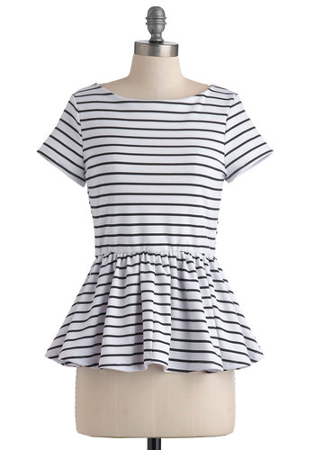 New Girl Courage Top in Stripes - White, Black, Stripes, Casual, Short Sleeves, Peplum, Mid-length, Boat