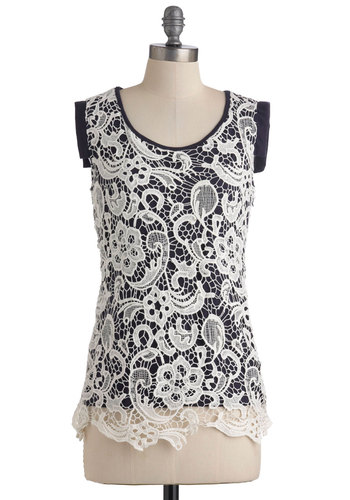 Oh Haiku There Top - Sleeveless, Mid-length, White, Blue, Floral, Crochet, Cotton, Work