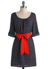 Plumage with Aplomb Dress - Short, Blue, Print, Casual, Sheath / Shift, 3/4 Sleeve, Fall, Belted, Multi, Red, Pockets