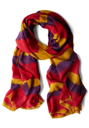 First Night in Florida Scarf - Yellow, Purple, Pink, Stripes, Casual