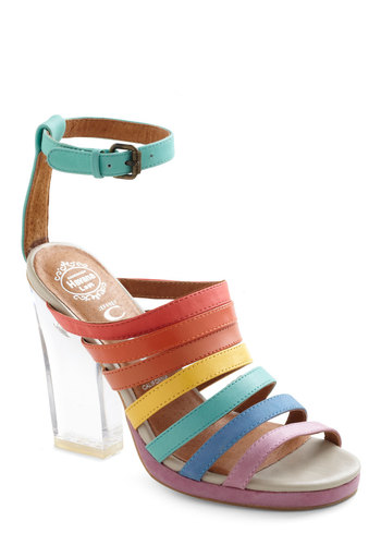 Rainbow Where You Please Heel by Jeffrey Campbell - Multi, Statement, Multi, Party, Summer, Leather, Platform, High, Tis the Season Sale