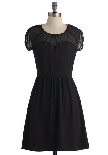 Onyx the Dance Floor Dress by Jack by BB Dakota - Mid-length, Black, Party, A-line, Short Sleeves, Cocktail, Sheer, Fit & Flare, Sweetheart