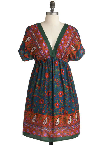 To Market Dress - Mid-length, Multi, Floral, Paisley, Casual, Empire, Short Sleeves, Multi, Boho, V Neck