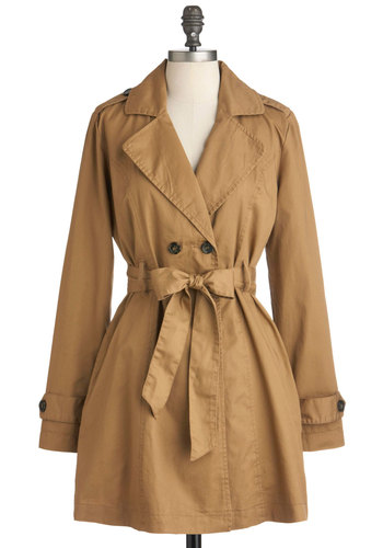Call Me Uptown Coat by Tulle Clothing - Tan, Red, White, Solid, Buttons, Pockets, Long Sleeve, Belted, Cotton, Double Breasted, 1, Long
