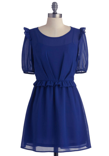 The Sheer Winner Dress - Short, Blue, Solid, Ruffles, Party, A-line, Short Sleeves, Sheer, Tis the Season Sale