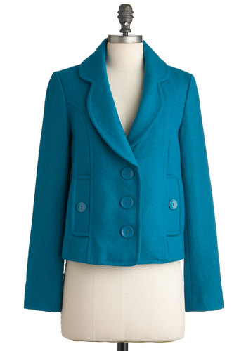 On the Library Steps Jacket by Tulle Clothing - Blue, Solid, Pockets, Long Sleeve, Short, Fall, Scholastic/Collegiate, 3