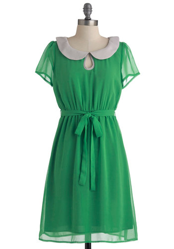 Behold the Emerald Dress - Mid-length, Green, Grey, Solid, Buttons, Peter Pan Collar, Party, Shift, Short Sleeves, Belted, Sheer, Collared