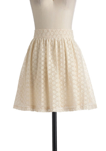 Saw It in a Cream Skirt by Tulle Clothing - Short, Cream, Lace, Pockets, A-line, Fit & Flare