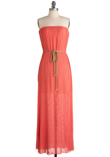 Guava Like No Other Dress - Long, Orange, Solid, Pleats, Maxi, Strapless, Summer, Belted, Casual, Sheer, Coral, Beach/Resort