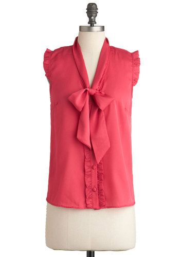 So Berry Much Top by Tulle Clothing - Mid-length, Pink, Solid, Ruffles, Sleeveless, Tie Neck, Work